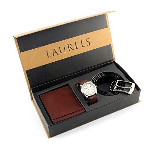 Laurels Men's Wallet , Watch & Belt Combo ,Brown-Gt-101 Ut-02