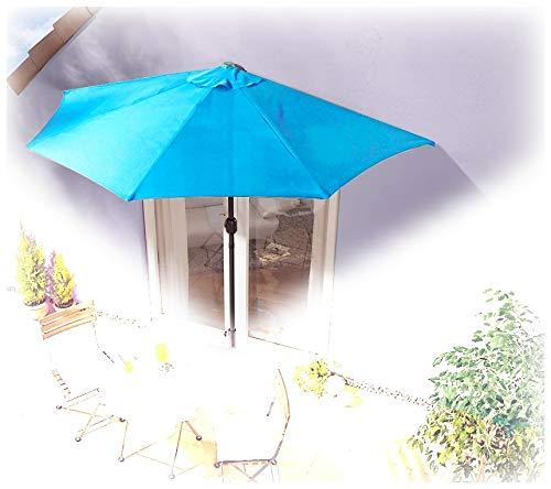 IMC Sonnenschirm halbrund türkis-blau Balkon mit Kurbel Wandschim Marktschirm Balkonschirm Terrasse Garten Sonnenschutz Halbschirm halb Polyester