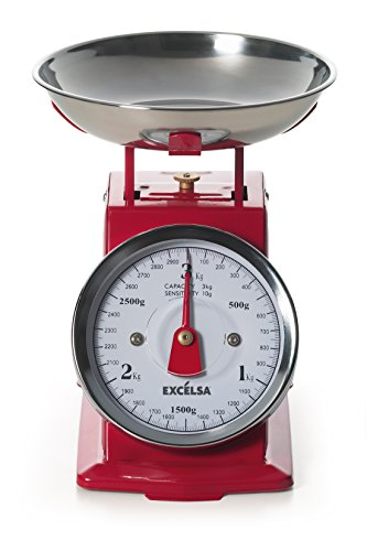 Excèlsa 39982 Bilancia Vintage, Rossa, 3 Kg/10 g