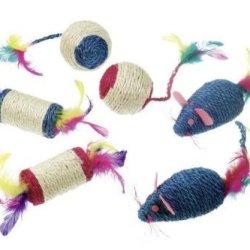 katzeninfo24.de Sisal Spielbälle mit Feder und Rassel L: 6 cm farblich sortiert