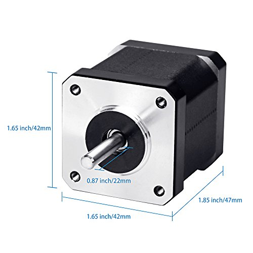 Beauty Star Nema 17 Stepper Motor Bipolar 2.0 A 83.6oz.in(59Ncm) 47mm Body 4-lead w/ 1m 4-Pin Cable +Nema 17 Mounting Brackets for 3D Printer/CNC