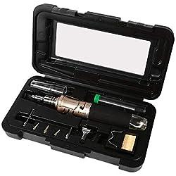 Juego de soldador de gas de encendido electrónico 10 en 1 Portátil Profesional de Encendido de Iones de Soldadura Automático Conjunto de Soldadura Kit Antorcha Herramienta