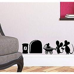 """Apioffer Agujero de ratón""""Familia de ratón rodapié pared Art Vinilo Adhesivo"""" 19 cm x 5 cm (l)"""