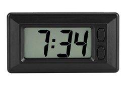 Mini Horloge digitale Pendulette LCD Tableau de Moto Voiture Bureau Horloge électronique Affichage Date 24Heure Calendrier avec Autocollant magique 7.7*4.2cm Offre de prix