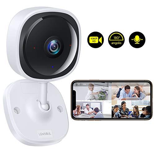 Telecamera Sorveglianza Wifi Camera IP 1080P Lensoul Videocamera di Sorveglianza per Interni Audio Bidirezionale, Sensore di Movimento, Night Vision, Archiviazione in Cloud, AI View APP