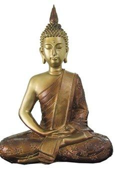 Figura buda iluminado de resina en color dorado y marrón | Tamaño: 29x13x40 cm | Portes gratis
