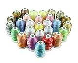 Simthread Multi-Farben Polyester Maschinen Stickgarn - 1,000 Meters, für Brother, Babylock, Bernette, Janome, Kenmore, Singer, W6 N 5000 und Nähmaschine (28 Faben)