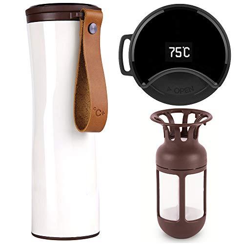 KISS KISS FISH Thermobecher, Kaffeebecher to go, Intelligente Thermosflasche, 430ml Touch Interaktive Edelstahl Trinkflasche mit OLED Temperaturanzeige einschließlich Kaffeefilter(Weiße)