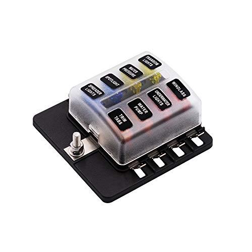 Kriogor 8 Vie 12V Scatola dei Fusibili Portafusibili con Kit Luci LED di Avvertimento per Auto Barca...