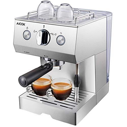 Aicok Cafetière Expresso, Machines à Café Expresso professionnelle 1140W avec Pompe 20 bar, 1.5 L Amovible Réservoir D'eau, Fonction de Chauffage, Acier inoxydable