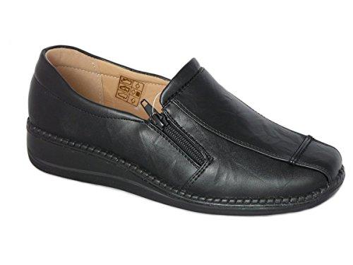 b240de84c080 Cushion Walk Women s Ladies Lightweight Black Faux Leather Slip-On Flat Zip  Shoes