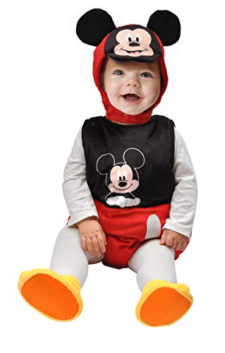 Ciao- Baby Mickey Costume Tutina fagottino Disney, 6-12 Mesi Unisex Bambini, Nero, Rosso, Bianco, 11254.6-12