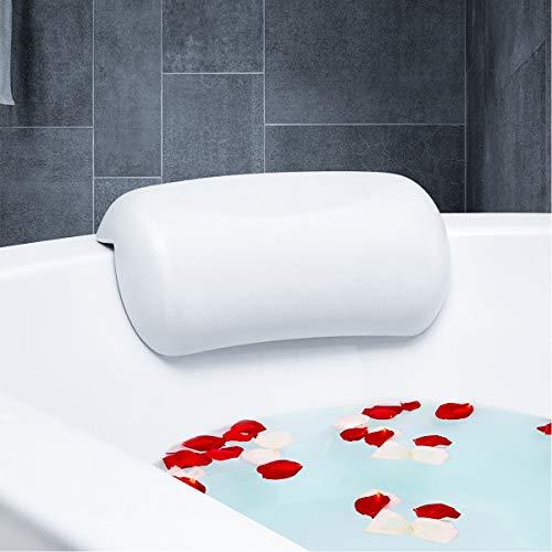 METALBAY Badewannenkissen SPA, Kissen Badewanne Wannenkissen Badekissen NackenkissenKopfkissen Nackenpolster für die Mehrheit Wanne Anti Rutsch Weiß