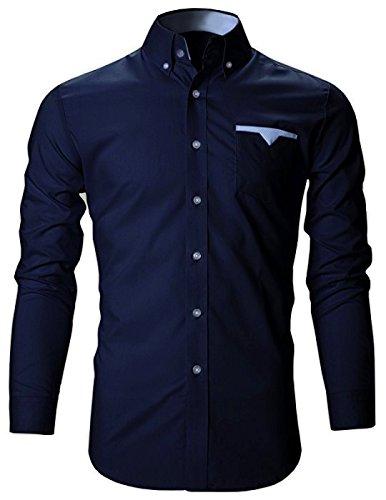 FINIVO FASHION Men's Cotton Casual Shirt (Navy Blue, 40)