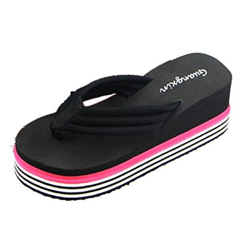 Chanclas mujer plataforma gruesa, Culater Sandalias de verano zapatillas de interior al aire libre zapatos de playa (39, Negro)