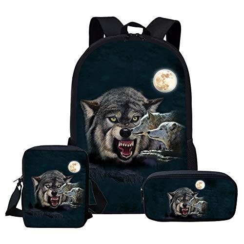 ANFLY Zaino per ragazzi Wild Wolf con tasca per bottiglia d'acqua, borse per la scuola elementare...