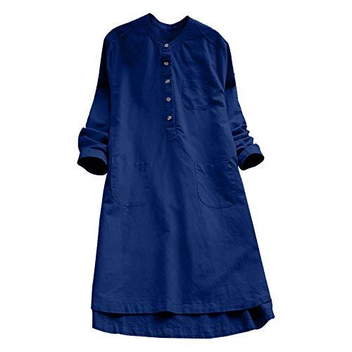 OverDose mujer Con Cuello En Cuello De Manga Larga De AlgodóN Casual SóLido TúNica Suelta Tops Camiseta Mujer Talla Grande (XL, W-Azul)