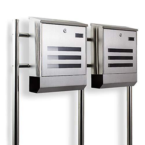 Postkasten Edelstahl Design Doppelstandbriefkasten Zeitungfach Briefkastenanlage Briefkasten Mailbox Eckig mit integireter Zeitungsrolle