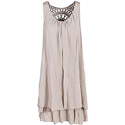 Sommerkleid mit Spitze am Rücken Tunikakleid knielang Sand 38+40