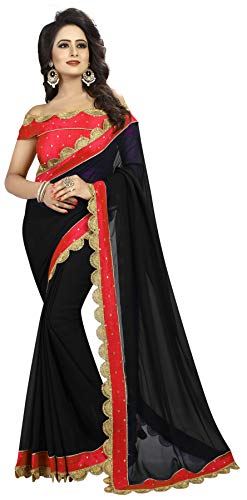Shreeji Designer Women's Georgette and Malbari Silk Embroidery Work Party Wear Saree SD-Saree-1012-Pink-1 (Black-Red)
