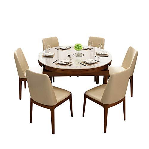 Tavolo da pranzo telescopico in legno massello e sedia Tavolo in vetro temperato da 1,35 m...