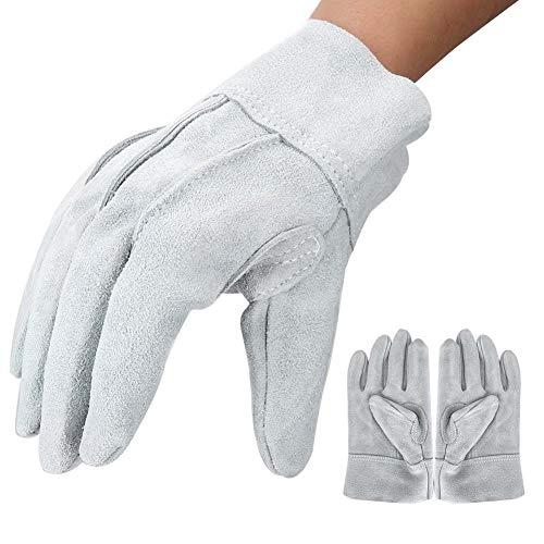 Guanti da lavoro in pelle, paio di guanti di saldatura in pelle crosta anti-usura Guanti anti-calore...