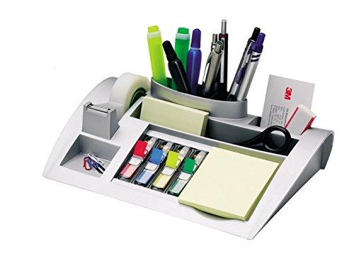 Post-it Tisch-Organizer silber-metallic - Schreibtisch Organizer mit 7 Fächern inkl. Post it Haftnotizen, 4-farbigen Post-it Index Haftstreifen & Scotch Klebeband