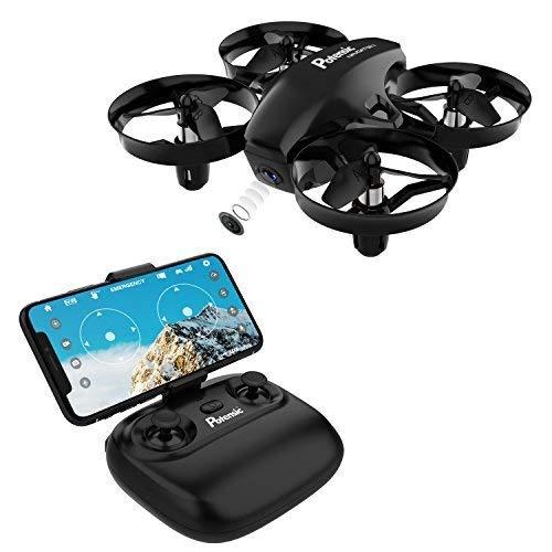 Potensic Mini Drone con telecamera telecomando quadricottero WiFi con funzione di sospensione altitudine, Bambini, Nero