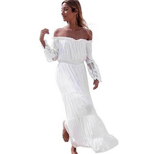 368e11c1eee ❉Femmes Robe Dentelle Robe Bohême Robe Elegant Rétro Imprimé Floral ...
