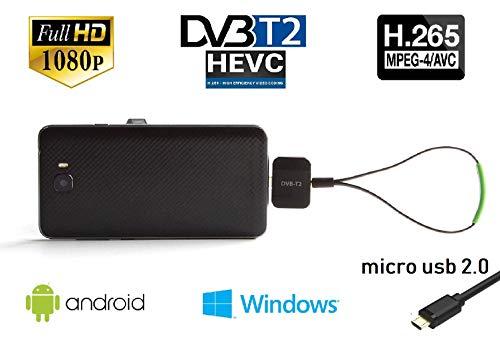 Maxxo T2 HEVC / H.265 | Sintonizzatore USB mobile HD TV per telefoni Android e laptop e PC Windows |...