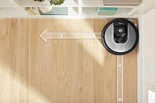 41XhjNrvnkL [Bon Plan Neato] iRobot Roomba 960, aspirateur robot avec forte puissance d'aspiration, 2 brosses anti-emmêlement, idéal pour animaux, capteurs de poussière, parfait sur tapis et sols, connecté, programmable via app