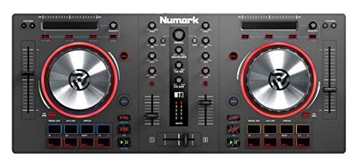 Numark MixTrack III - Controlador DJ de 2 canales, con Jog wheels metálicas, Touch Strip multifunción, 16 Pads multifuncionales, incluye Virtual DJ LE y Prime Loops Remix, necesita tarjeta externa