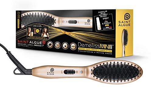 SAINT ALGUE Demeliss Mini PRO - Brosse de Voyage Professionnelle en Céramique, pour tous Types de Cheveux, pour Lisser ou Créer des Ondulations, Température 200° - Doré/Noir