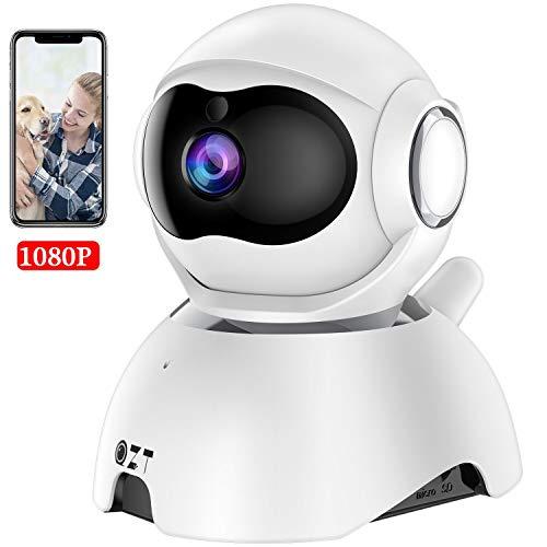 QZT Telecamera Sorveglianza Wifi, 1080P Telecamera IP con Visione Notturna Audio Bidirezionale Motion Detection, Telecamera Interno Casa per Bambini Cani