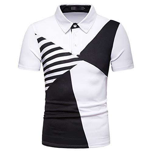 Lazzboy Uomo Polo T-Shirt Color Block Patchwork Stand Collar Moda Casual Estate Manica Corta Top...