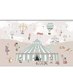 Papier peint mural papier peint dessin animé ballon à air chaud cirque fond chambre d'enfants garçon fille chambre fond 3D tissu de soie (W)400x(H)280cm