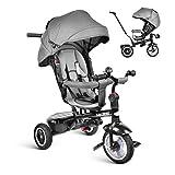 besrey Dreirad Kinderwagen Jogger 7-in-1 Kinder Fahrrad mit 360° Drehsitz + Luftkammerrad + Liegefunktion ab 10 Monate bis 6 Jahre + Regenschutz (Grau) ...
