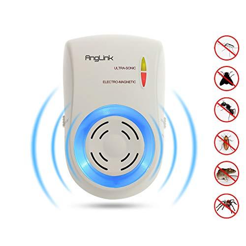 AngLink Repellente Ultrasuoni Per Topi - Anti Insetti, Zanzare tropicali, Ratti, Mosche, Pulci -...