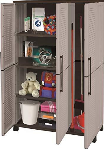 Artplast Family-Armadio Alto 3Ante con Porta Scope in Polipropilene