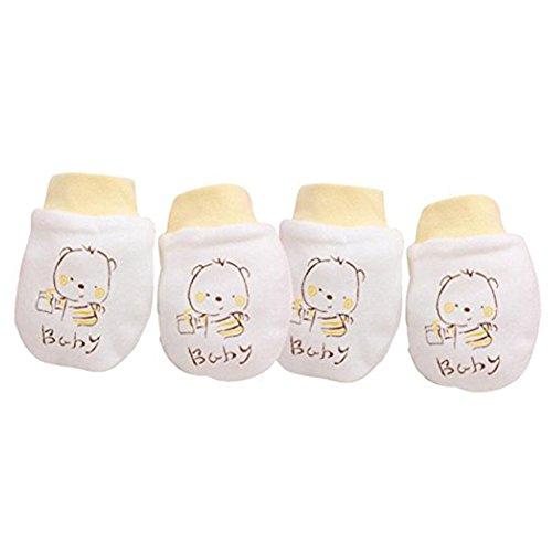 Tangbasi 2paia neonato antigraffio guanti da bambino morbido cotone giallo Yellow taglia unica