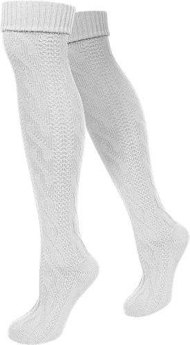 normani LANGE Trachtensocken Trachten Strümpfe für lederhosen Kniebund Socken Natur Farbe Weiß Größe 35/38