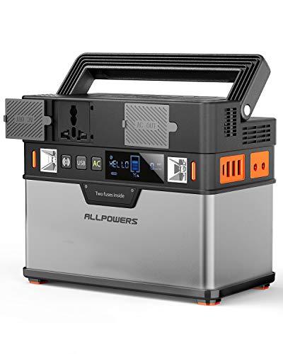 ALLPOWERS 372Wh/105000mAh Generador Inverter, Generador Portátil Solar Carga con AC 220V Salida de Tecnología PD, Salida inalámbrica de energía portátil eléctrica para Camping, Tablet, Dron