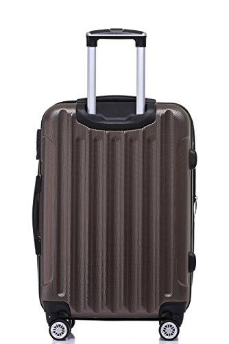 BEIBYE TSA Schloß, Zwillingsrollen, Dehnungsfuge, Hartschale Trolley Koffer Kofferset Reisekoffer Gepäckset (Coffee) - 4