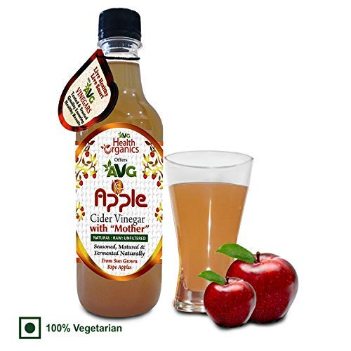 AVG Health Organics Apple Cider Vinegar with Mother, Raw, Natural, Unfiltered, Unpasteurized, Boosts Immunity Level, Detoxify Body, Helps in Weight Loss (500 ml)