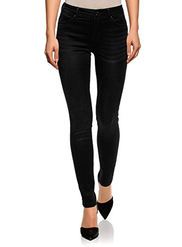 oodji Ultra Damen Jeans Skinny aus Weichem Stoff, Schwarz, 25W / 32L...
