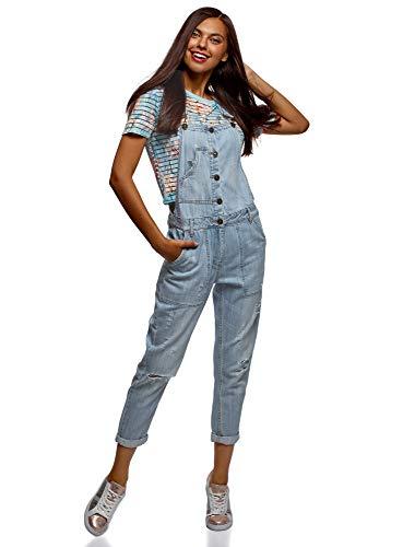 oodji Ultra Damen Jeans-Latzhose mit Knöpfen, Blau, DE 36 / EU 38 / S