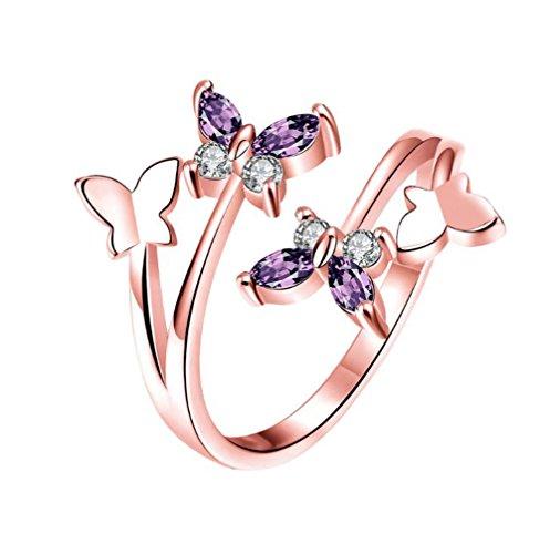 oyfel Anillo abierta ajustable forma mariposa en plata con piedra diamante artificial para el aniversaire boda Fin de estudios san valentín para mujer niña All Code rosa