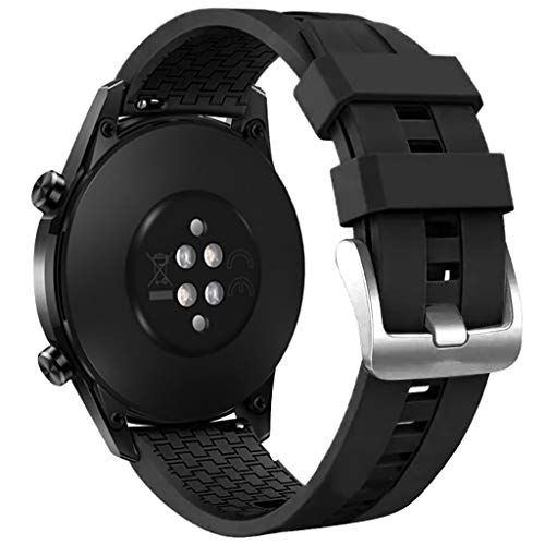 JSxhisxnuid Compatibile con Huawei Watch GT2 46mm Cinturino Silicone Donna Uomini, Bracciale Regolabile Sport Cinturini per Huawei Watch GT2 46mm (Nero)