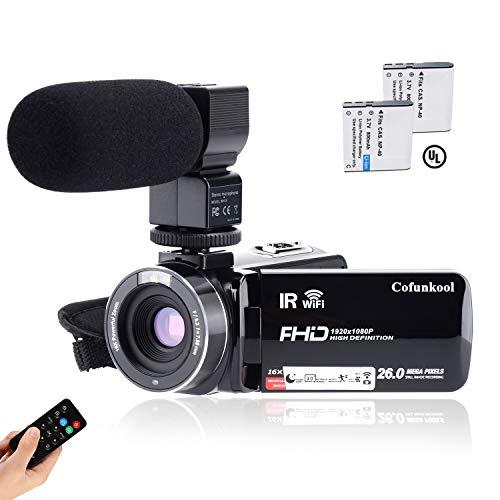 Videocamera CofunKool 1080P 26MP WiFi Video Camcorder Vlogging Camera IR Visione notturna a...