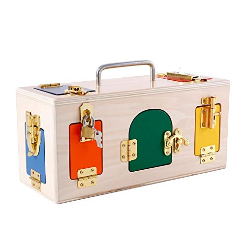 Augneveres Toys Lock Box in Legno colorato Lock Box con 10Diverse Porte e Serrature, Kids Daily...